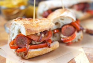 easy smoked sausage sandwich