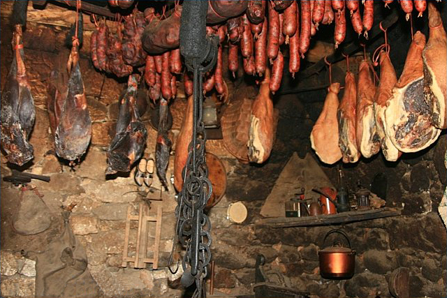 preserving meat in smokehouse