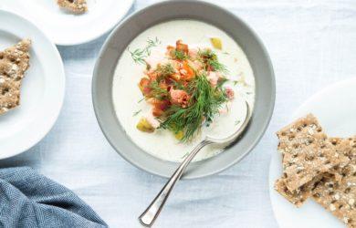 smoking salmon for soup