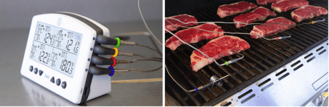 probes in steaks on grill