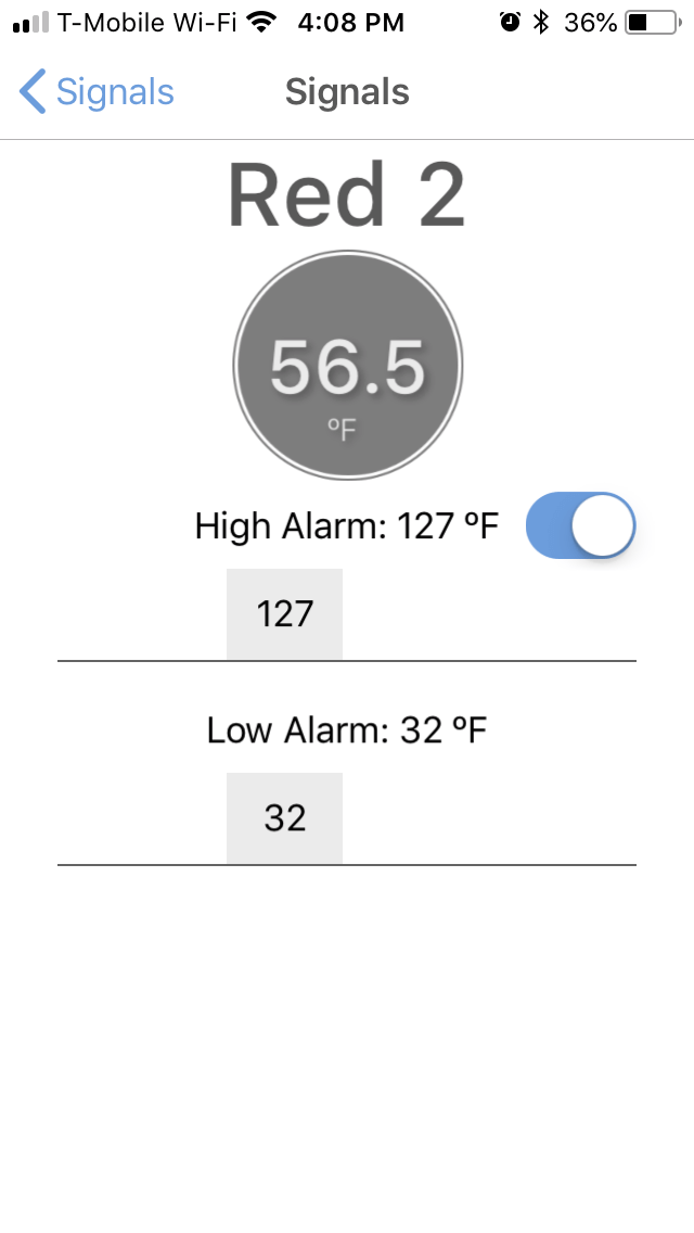 temperature alarm settings