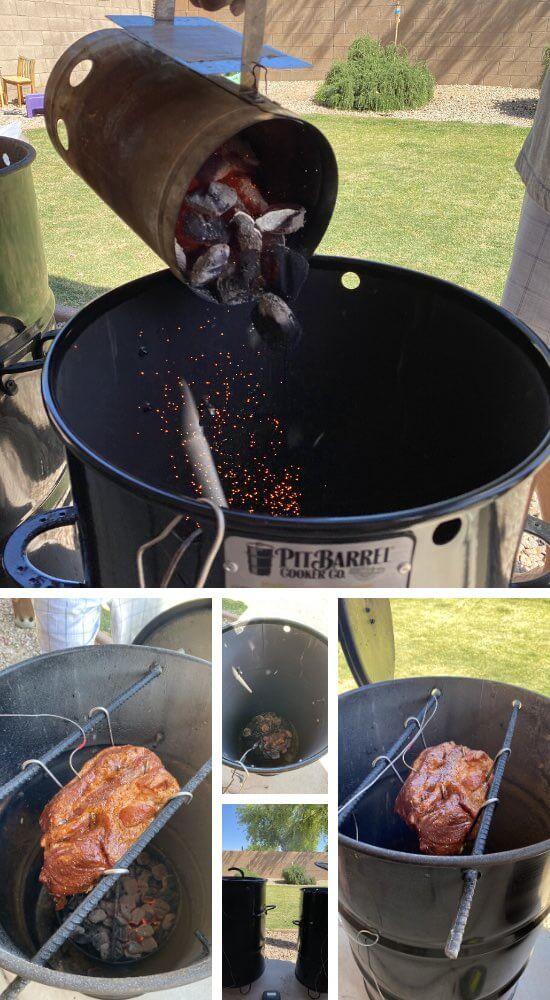 adding coals and putting in pork