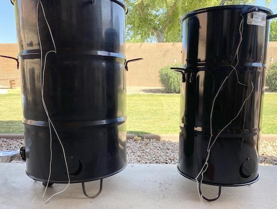 pit barrel jr next to pit barrel cooker
