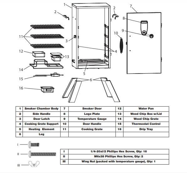 CUISINART COS-330 SMOKER parts illustration