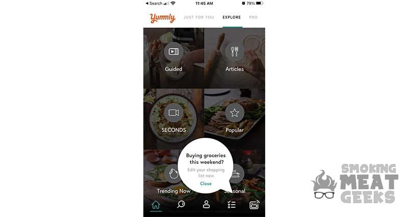screenshot of Yummly! app