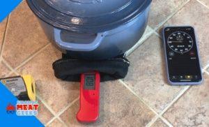 glove under hot dutch oven