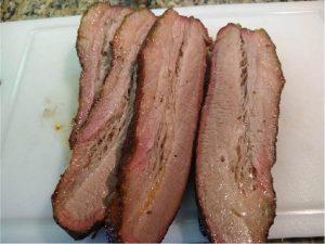cooked and sliced Brisket burnt ends