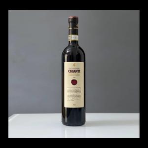 3 liter bottle of Chianti on white table
