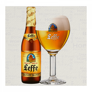 Belgian blonde bottle with fill glass