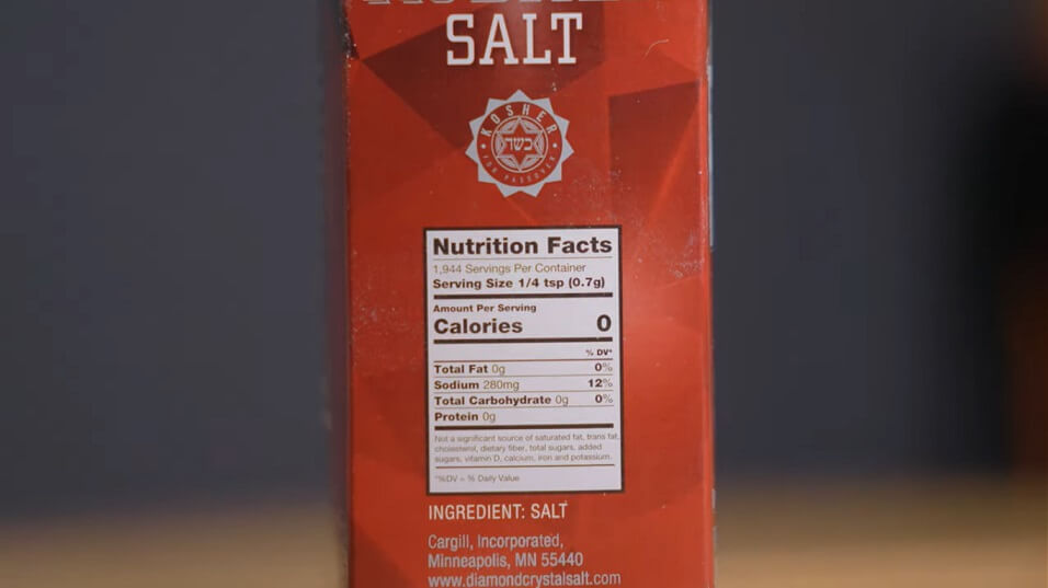 salt and it's weight ratio given on salt packet