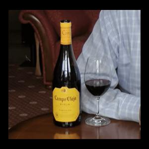 Spanish Garnacha bottle with glass